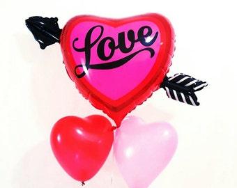 """36"""" Jumbo love balloon. valentine's day balloon. heart balloon. love. valentine's day party decor. heart and arrow balloon. Jumbo heart love"""