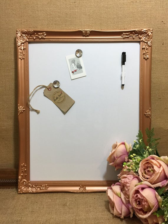 ROSE GOLD MAGNET WHiTEBOARD - Copper Dry Erase Board - Metallic Framed Message Boards - Copper White Board - Framed Whiteboards