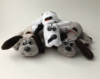 3 vintage Dalmatian Pound Puppies, 90s Pound Puppies, spotted Pound Puppies, 90s stuffed dogs, gray pound puppy, white pound puppy, 90s dogs