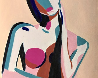 """Pink and Blue Woman// original figurative art painting, figure study, abstract woman, modern nude, abstract nude, midcentury modern  9x12"""""""