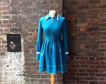Vintage 1960s Blue Long Sleeved Mini Dress