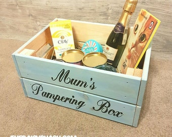 Mum's Pampering Box, Mother's Day, Bathroom Box, Makeup Box, Rustic Box