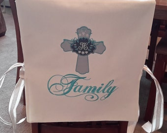 Custom Made Christian Chair Cover /Bib - Monogram