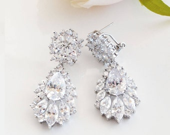 Bridal Earrings, Cubic Zirconia Earrings, Wedding Earrings, Crystal Earrings, Drop Earrings, Chandelier Earrings, Bridal Jewellery