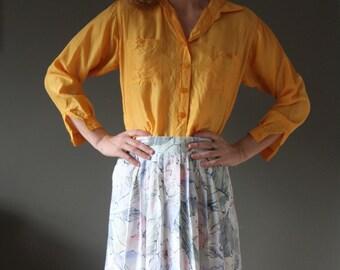 High waist pleated floral skirt
