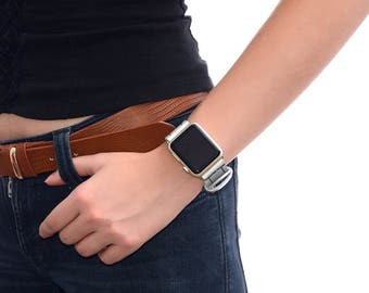 White Apple watch strap leather // apple watch band 42mm leather - iwatch strap - iwatch band 38mm - lugs adapter accessories for women
