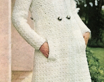 Vintage Double Breasted Coat & Hat Crochet Pattern PDF Instant Download