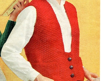 1950's Mid Century Preppy Vest Knitting Pattern PDF Instant Download