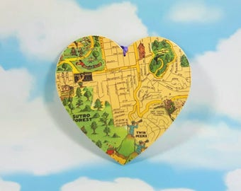 San Francisco Map Heart, Wall Decor, Wooden Heart, Wall Hanging Heart, Map Decoupage Heart