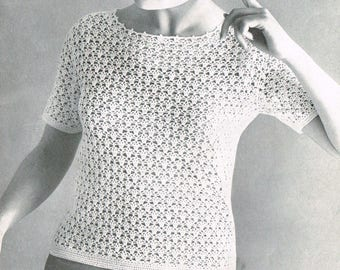 Vintage 60s Crochet Pattern - Lacy Blouse  -  Women's 60s summer top - PDF Download - Retro 1960s