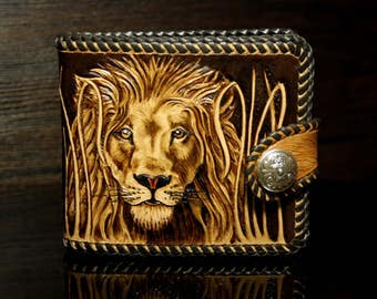 Hand-tooled leather wallet,  leather men's wallet, hand-carved wallet, Lion wallet, tooled wallet, carved wallet, custom wallet, mens gift