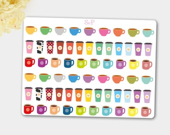 Tea Cup Stickers,Tea Sticker, Drink Stickers,Life Planner Stickers,Cup Stickers,Coffee Stickers,Stickers for use with LIFE PLANNER