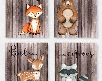 Woodland nursery set, Boys room, Fox picture, Woodland theme, Baby shower gift, Woodland Decor, Bear picture, Woodland animals, kids ro