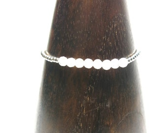 Rose Quartz - Silver Beaded Bracelet