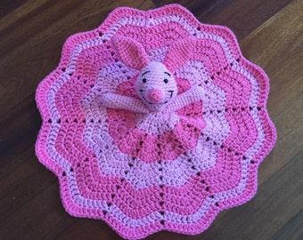 Crochet Disney Inspired Piglet Doll, Lovey, Security Blanket