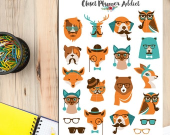 Cute Hipster Animals Planner Stickers | Hipster Stickers | Animals Stickers | Deer Fox Owl Cat Dog Stickers (S-202)