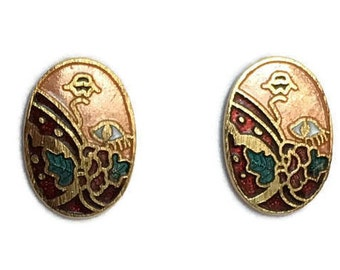 Cloisonne post back earrings vintage gold tone enamel on metal jewelry