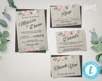 Floral Wedding Invitation Template + RSVP, Details - Printable Wedding Invites - Editable in Our Web Application