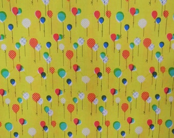 "Yellow Fabric, Multicolor Balloons Print, Decorative Fabric, Sewing Crafts, 45"" Inch Cotton Fabric By The Yard ZBC7484A"