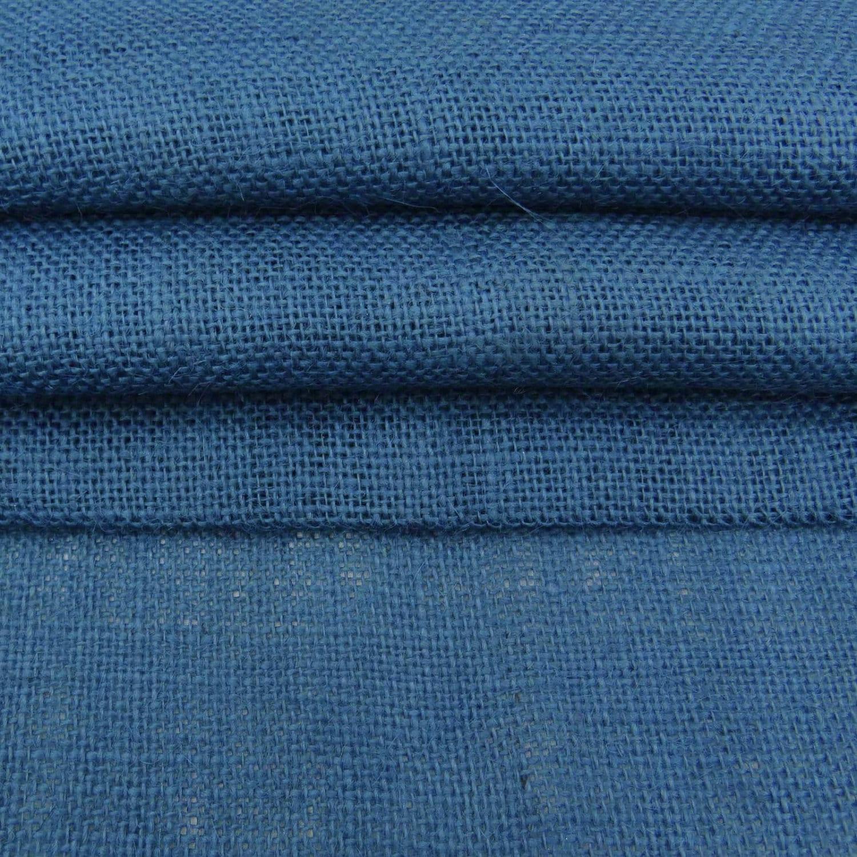 Blue jute fabric blue burlap natural fabric rustic for Decorative burlap fabric