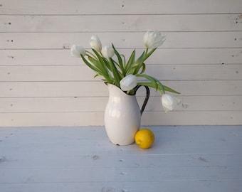 White Enamelware Pitcher - Vintage French Enamel Water Jug - Modern Farmhouse Style Vase