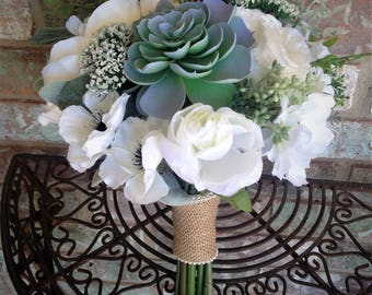 White Succulent Bouquet