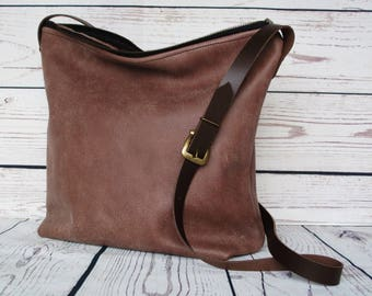 Brown leather crossbody bag, real leather, medium, slouchy cross body, shoulder bag, leather purse, zipper top