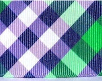 "Preppy Green & Purple Plaid Design  1.5"" Collar with Side Release Buckle (Martingale Option Available)"