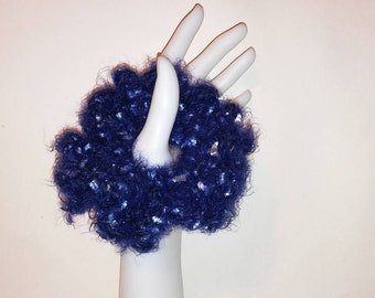 Handmade Crocheted Navy Blue Hair Scrunchy, Crocheted Navy Blue Hair Tie, Ponytail Holder, Navy Blue Scrunchie, Soft Yarn