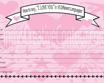 Downloadable Bridal Shower Game - How to say I love you in 10 languages - Downloadable Flyer - 2 Per Page