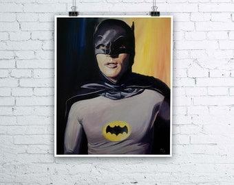 Adam West Batman '66 Painting - Giclée Fine Art Print - Various sizes available DC Comics Superhero Legend