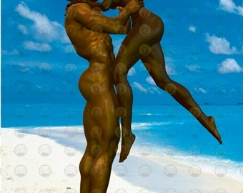 "Black Love Art African American Art ""White Sands"" print by African American Artist Eric Austin"