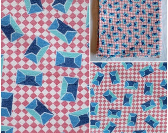 """Feedsack Fabric/ Pink Checked Fabric/ 1930s-40s Blue Sapphire Geometric Print/ Vintage Farmhouse Quilting & Sewing Flour Sack: 40""""x 37"""""""