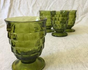 Vintage Indiana Glass Avocado Green Whitehall Colony Juice Glasses, Set of 4, Mid Century Green Glasses