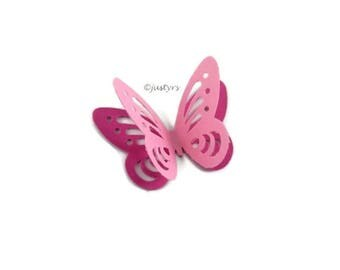 3D Pink Butterfly Confetti, Candy Table Decor, Pink Paper Butterflies, Pink Party Decor, Pink Butterfly cake decor, Baby Shower Decor