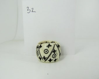 Carved stars circles and stripes Bone Dread Beads Large hole Bead #32