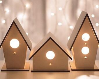 Clean & Classic Birdhouse Night Light - Woodland Nursery Nightlight - Baby Boy or Girl / Kid's Room Lamp