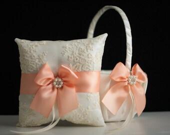 Peach Flower Girl Basket \ Peach Ring bearer Pillow \ Peach Wedding Basket, Peach Wedding Pillow, Peach Lace Bearer, Peach Pillow Basket Set