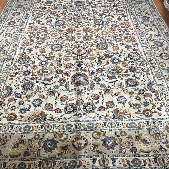 "9' x 13'1"" Antique Persian Kashan Oriental Rug - 1930s - Hand Made - 100% Wool"