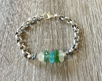 Bright Blue and Green Lake Superior Beach Glass Bracelet with Silver Chain