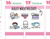 Wacky Holidays - August 2017 Planner Stickers (W08)