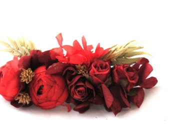 Red,peony,flower,hair,comb,dried,preserved,flower,hydrangea,red,velvet,oatmeal, oat,seeds,daisy,mountain,flower,moutain,woodland,fairy