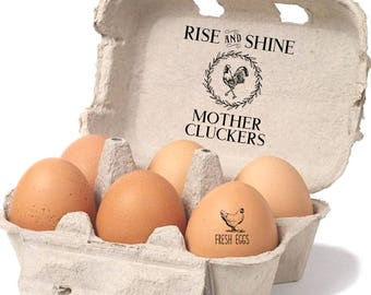 Custom Egg Carton Label - Rise And Shine Mother Cluckers - Chicken Coop Sign - Funny Pet Gift - Chicken Lovers - Rooster Farmhouse Decor