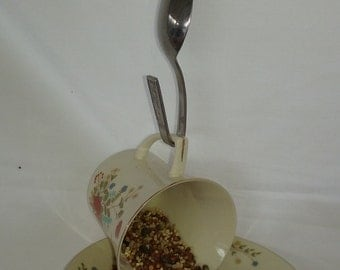 Bird Feeder Reclaimed China Cup and Saucer Repurposed Vintage