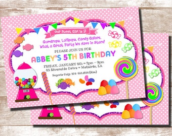 Candy Theme Invitation, Candyland Invitation, Candy Party Invitation, Candy Birthday Party, Candyland Party Invitation, Digital Printable