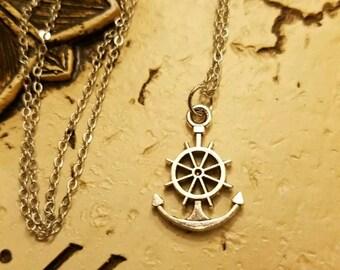 Ship Wheel, Navy Necklace,  Pendant