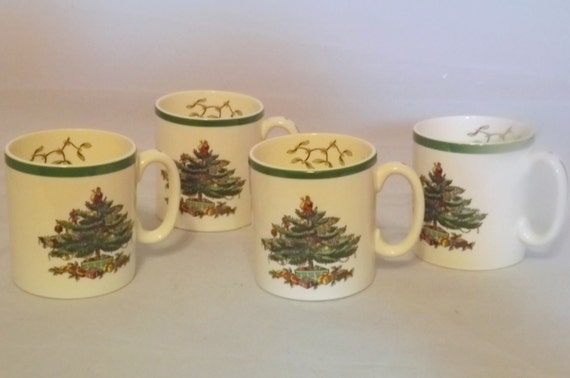 Set of 4 Spode Christmas tree Cups, Spode Mugs, Perfect for Hot Chocolate, Cocoa Cups, Christmas Mugs, Excellent Vintage Condition