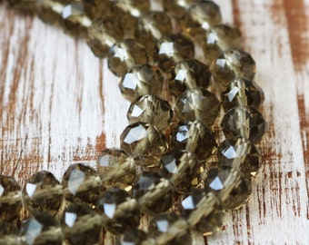 6x8mm, brown crystals, smoky quartz crystal, glass beads, rondelle beads, faceted beads, full strand,