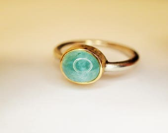 ring SILVER GOLD TOURMALINE