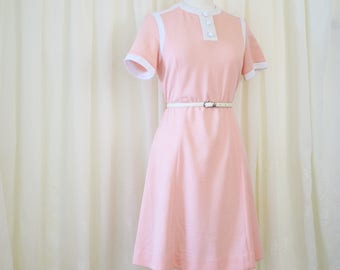 60s Peachy Space Age A-line Scooter Dress, Sixties Mod Shift Dress, Forever Young, Medium 3740